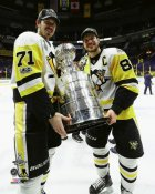 Evgeni Malkin & Sidney Crosby with Cup 2017 Stanley Cup Champs Pittsburgh Penguins SATIN 8x10 Photo