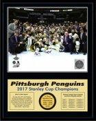 Penguins 2017 Celebration ON ICE Down Stanley Cup Champions 12x15 MATTE BLACK Plaque