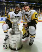 Kris Letang & Sidney Crosby with Cup 2017 Stanley Cup Champs Pittsburgh Penguins SATIN 8x10 Photo