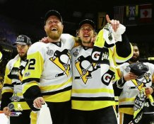 Patric Hornqvist & Carl Hagelin Celebrate 2017 Stanley Cup Win Pittsburgh Penguins SATIN 8x10 Photo