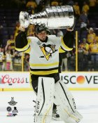 Marc-Andre Fleury with Cup 2017 Stanley Cup Champs Pittsburgh Penguins SATIN 8x10 Photo