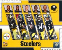 Steelers 2017 James Harrison, Le'Veon Bell, Ben Roethlisberger, Antonio Brown, Ryan Shazier 2017 Pittsburgh Steelers Team SATIN 8x10 Photo
