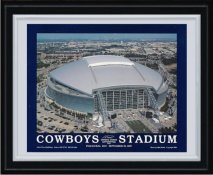 Dallas Cowboys Stadium Plaque MATTE BLACK 10.5x13 Plaque with Silver Frame and border - Discounts for Quantity Buyers