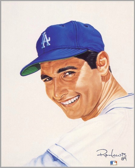 Sandy Koufax Los Angeles Dodgers 8X10 Card Stock Litho by Ron Lewis LIMITED NUMBERED EDITION