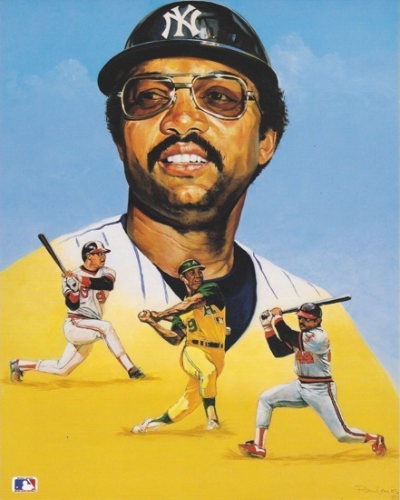 Reggie Jackson A's, Angels, Yankees 8X10 Card Stock Litho by Ron Lewis  SUPER SALE