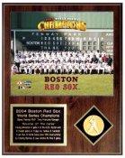 Boston Red Sox 2004 World Series Sit Down Team Plaque Walnut Style