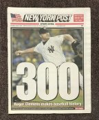 Roger Clemens 300th Hit Newspaper New York Post