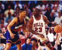 Kevin Johnson & Michael Jordan Suns / Bulls LIMITED STOCK Satin 8X10 Photo