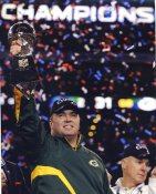 Mike McCarthy w/ Lombardi Trophy Super Bowl 45 Green Bay Packers LIMITED STOCK Satin 8X10 Photo