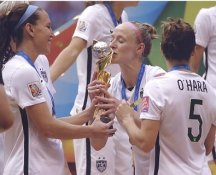 Becky Sauerbrunn Kissing Trophy, Kelly O'Hara, Lauren Holiday 2015 USA Women's Soccer World Cup Champions LIMITED STOCK Satin 8X10 Photo
