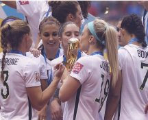 Julie Johnston Ertz Kissing Trophy, Shannon Boxx, Christie Rampone 2015 USA Women's Soccer World Cup Champions LIMITED STOCK Satin 8X10 Photo
