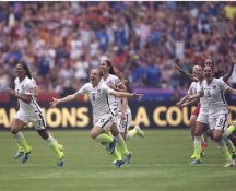 Shannon Boxx, Amy Rodriguez, Heather O'Reilly 2015 USA Women's Soccer World Cup Champions LIMITED STOCK Satin 8X10 Photo