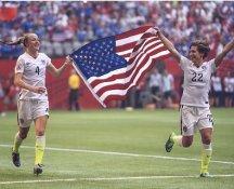 Becky Sauerbrunn & Meghan Klingenberg 2015 USA Women's Soccer World Cup Champions LIMITED STOCK Satin 8X10 Photo