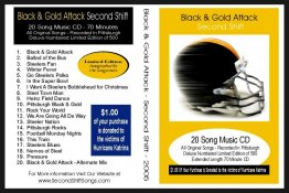 Steelers 2005 CD 20 Songs BLACK AND GOLD ATTACK by Second Shift  Pittsburgh CD LIMITED EDITION