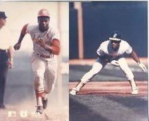Rickey Henderson & Lou Brock Oakland A's / St. Louis Cardinals LIMITED STOCK 8X10 Photo