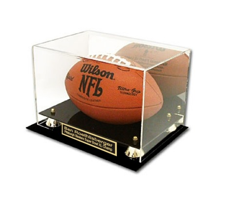 Deluxe Football Display- Black & Gold Acrylic Base with mirrored back.  2 lines FREE ENGRAVING