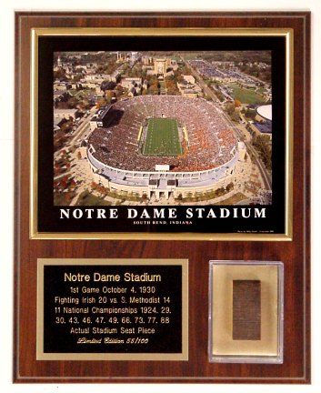 Notre Dame Seat Plaque Limited Edition of 100
