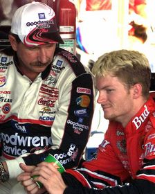 Dale Earnhardt Jr. & Sr. Garage Ph8x10 Photo