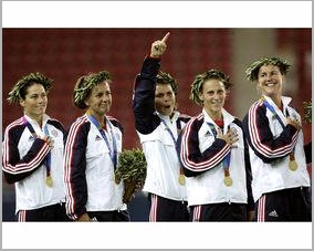 Julie Foudy Joy Fawcett Mia Hamm Christine Lilly and Brandi Chastian 2004 Olympic Gold Medal