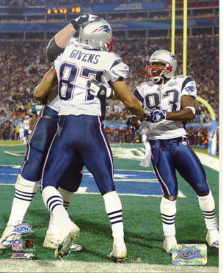 David Givens & Deion Branch Celebrate TD SB39 LIMITED STOCK 8x10 Photo