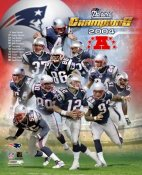 Ty Law, Adam Vinatieri, Corey Dillon, Tom Brady LIMITED STOCK 2004 Patriots AFC Champs 8X10 Photo