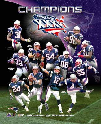 Patriots 2002 Super Bowl 36 Team Composite 8x10 Photo  LIMITED STOCK