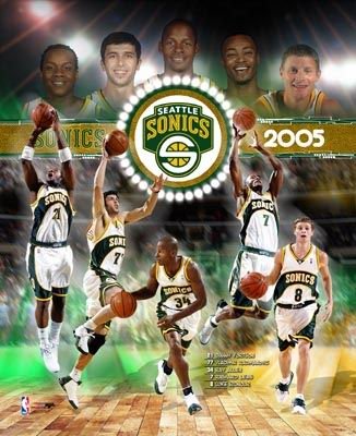 Seattle Sonics Team Composite 8X10 Photo LIMITED STOCK