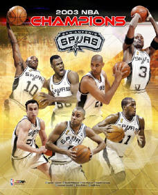 Spurs 2003 Champions Tim Duncan etc LIMITED STOCK Composite 8X10