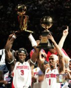 Ben Wallace & Chauncey Billups with MVP & Champs Trophy 8X10 Photo LIMITED STOCK