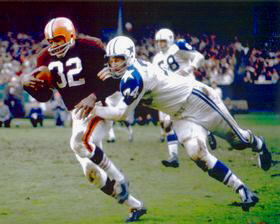 Jim Brown with Bob Lilly Cleveland Browns 8X10 Photo