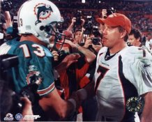 Dan Marino Dolphins & John Elway Broncos 8X10 Photo   LIMITED STOCK