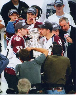 Chris Drury Joe Sakic Ray Bourque 2001 Cup 8x10 Photo