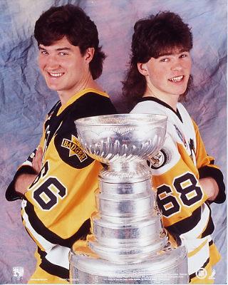 Mario Lemieux and Jaromir Jagr 1992 Pittsburgh Penguins 8x10 Photo