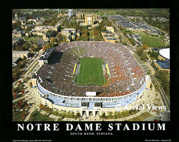 A1 Notre Dame Stadium Aerial Fighting Irish 8x10 Photo