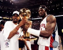 Richard Hamilton & Ben Wallace w/Trophy Pistons 8X10 Photo LIMITED STOCK
