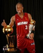 Dwyane Wade LIMITED STOCK 2006 Champs-MVP Trophies 8X10 Photo