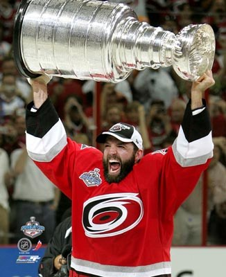 Bret Hedican with Stanley Cup 2006 Hurricanes 8x10 Photo
