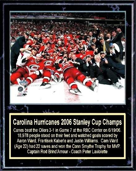 Carolina 2006 Hurricanes Stanley Cup Celebration 12x15 Plaque