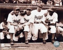 Jackie Robinson 1st Dodgers game with Spider Jorgenson, Pee Wee Reese, Ed Stankey 8X10 Photo LIMITED STOCK