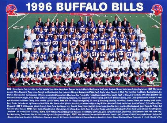 Buffalo 1996 Bills Team Jim Kelly, Marv Levy, Bryce Paup, Elija Pitts, Thurman Thomas & Full Team 9x12 Photo