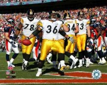 Jerome Bettis AFC Champs TD with Max Starks & Heath Miller Steelers LIMITED STOCK 8x10 Photo