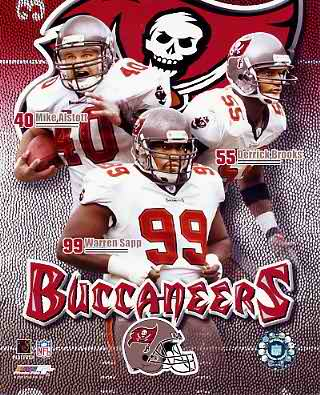 Mike Alstott, Derrick Brooks, Warren Sapp Bucs 8X10 Photo