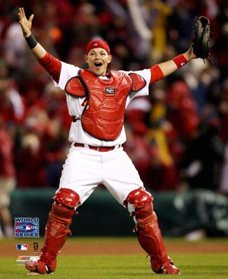 Yadier Molina 2006 World Series Game 5 Cardinals SATIN 8X10 Photo