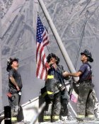 911 Firemen Raise Flag Ground Zero September 11 SATIN 8x10 Photo