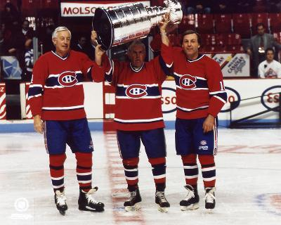 Jean Beliveau, Maurice Richard, Guy Lafleur Stanley Cup Canadiens SATIN 8x10 Photo