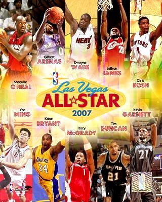 NBA 2007 All-Stars Shaq O'Neal, Gilbert Arenas, Dwyane Wade, Lebron James, Chris Bosh, Yao Ming, Kobe Bryant, Tracy McGrady, Tim Duncan, Kevin Garnett LIMITED STOCK