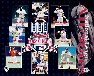All-Star 1997 National League Jeff Bagwell, Craig Biggio, Mike Piazza, Barry Larkin, Barry Bonds 8X10 Photo
