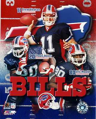 Drew Bledsoe, Travis Henry, Eric Moulds Buffalo Bills 8X10 Photo