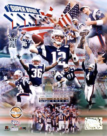 Patriots 2001 Super Bowl 36 LTD Edition Team 8x10 Photo