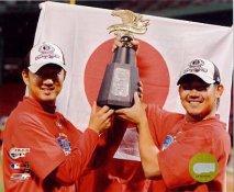 Daisuke Matsuzaka & Hideki Okajima 2007 Amercian League Champions Trophy LIMITED STOCK Red Sox 8x10 Photo